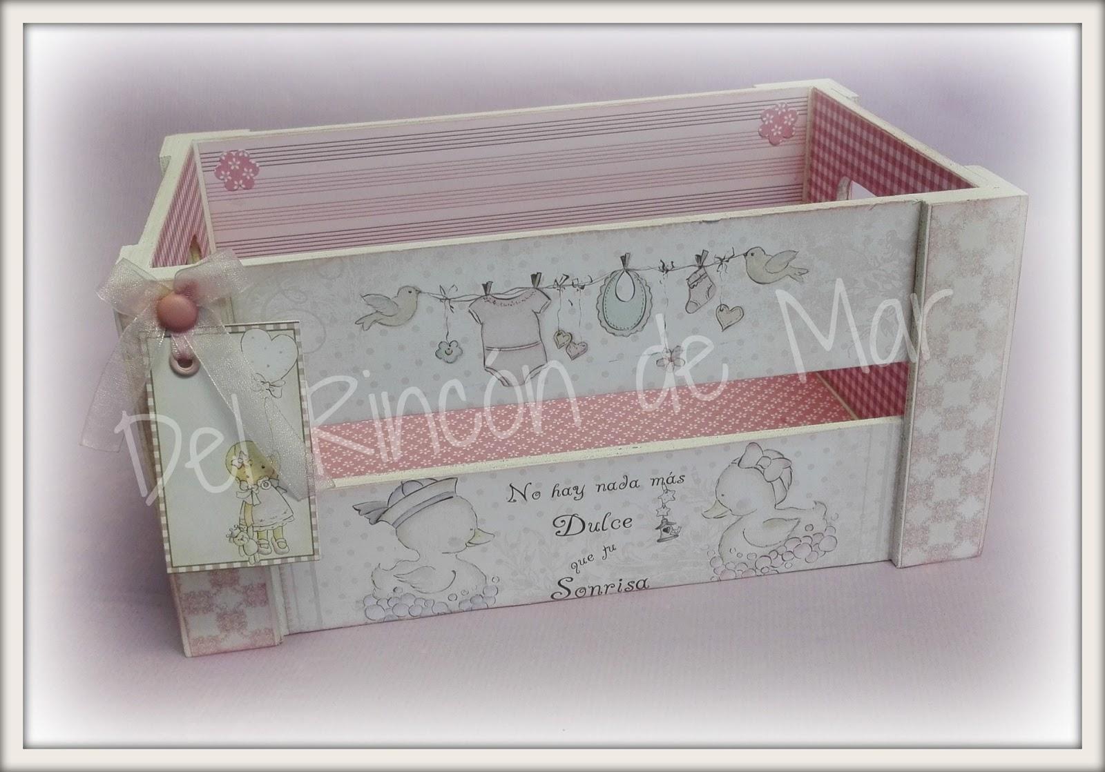 Del rinc n de mar cajas de madera decoradas - Cajas decoradas para bebes ...