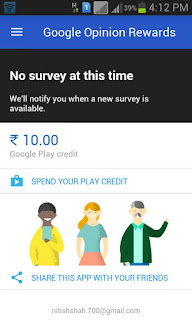 Google Opinion Reward India proof