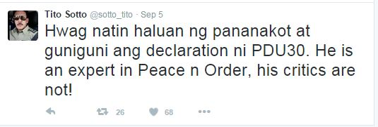 'He Is An Expert In Peace And Order, His Critics Are Not' Senator Tito Sotto Said In Duterte's Defense!