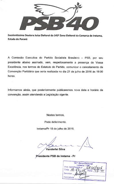PSB de Iretama cancela Convenção Partidária que seria realizada no dia 21