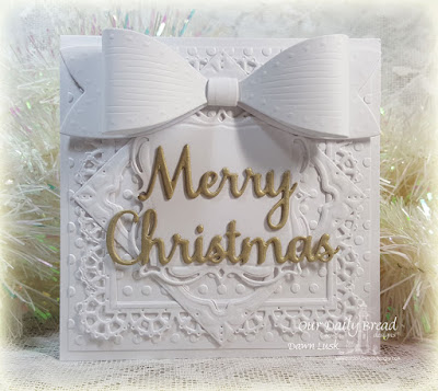 Our Daily Bread Designs Custom Dies: Layered Lacey Squares, Merry Christmas Large Bow