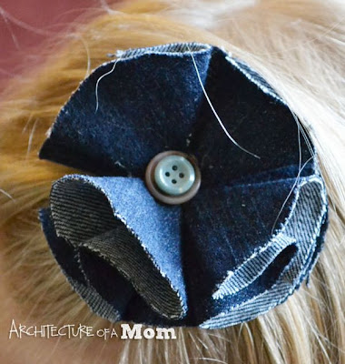 No-Sew Denim Flower Hair Barrette