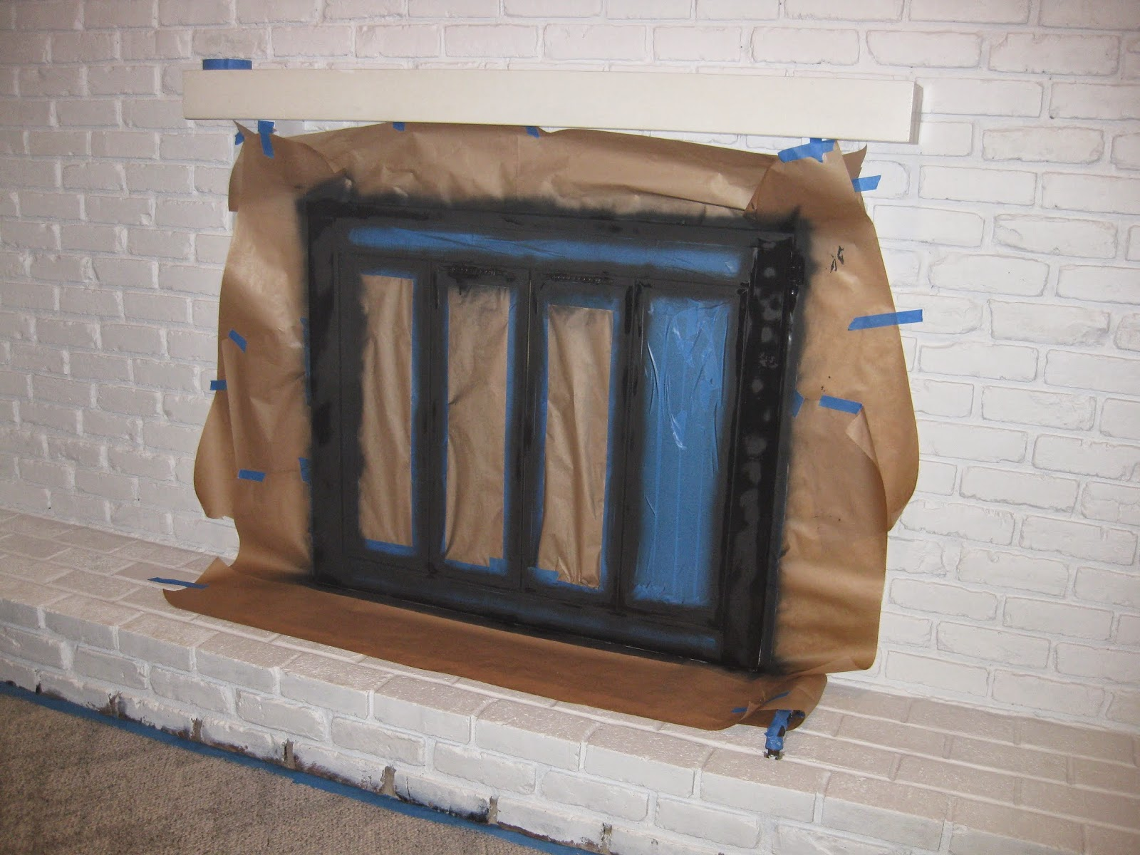 This Is A Gas Fireplace So We Had Large Pipe Sticking Out Of Our Brick I Wred It With Garbage Bag And Decided To Paint Black Too