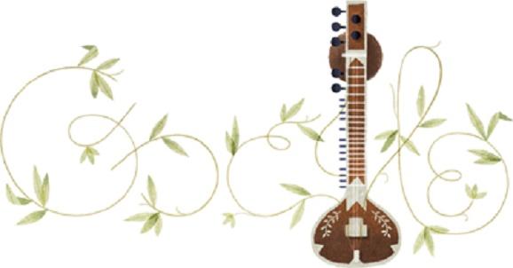 Doodle Google Hari Ini, Pandit Ravi Shankar Menghiasi halaman Google, Siapakah Dia ?