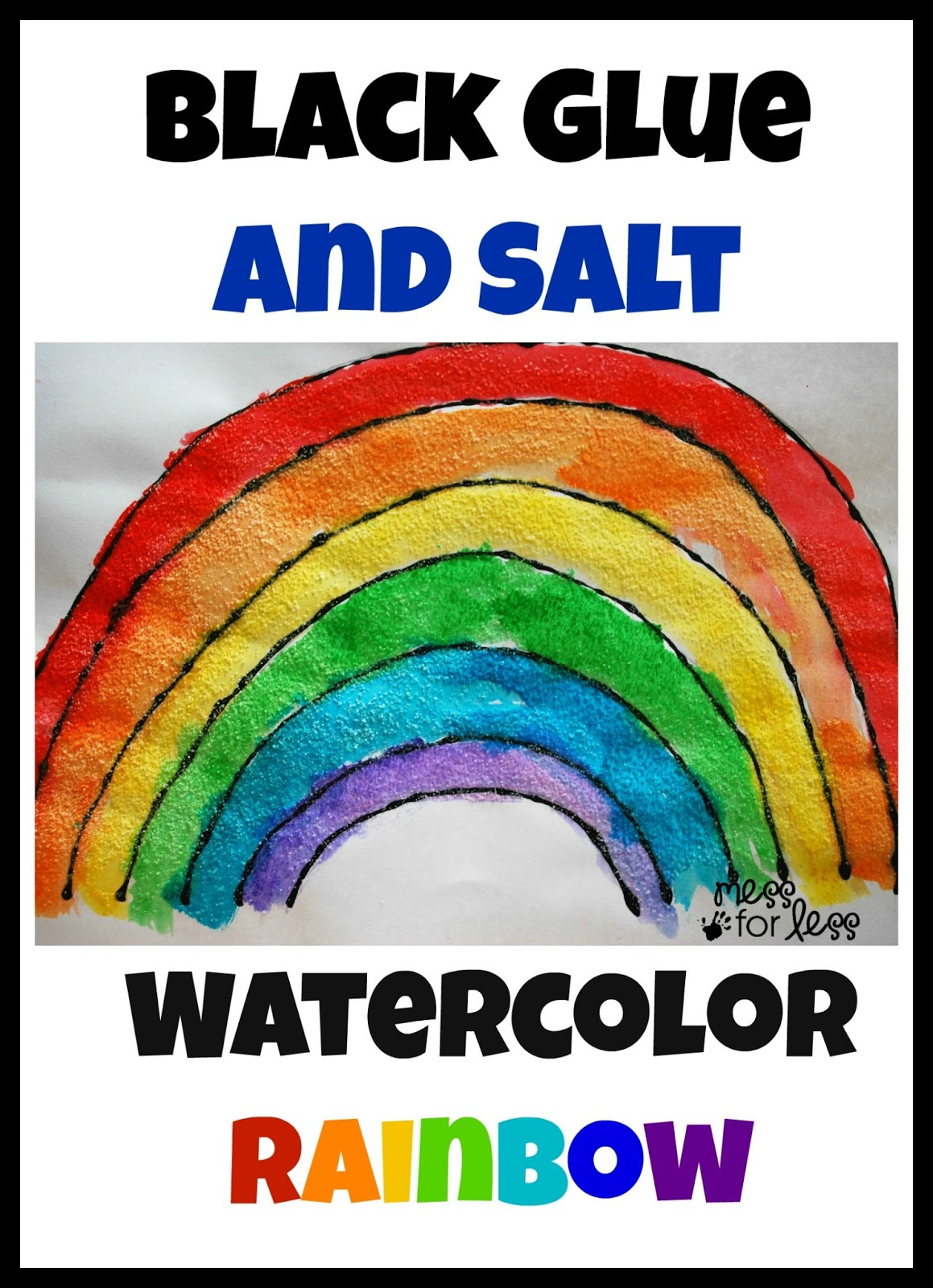 Rainbow Craft Black Glue And Salt Watercolor Rainbow