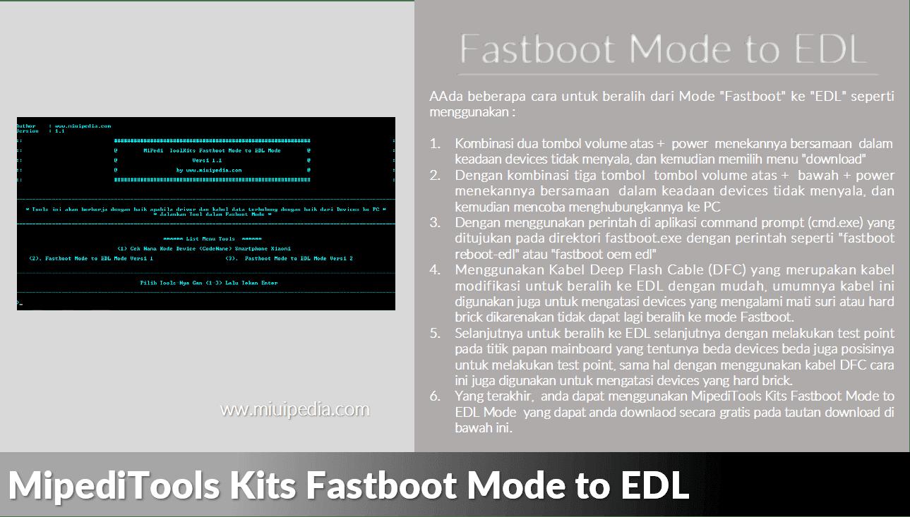 Cara Menggunakan MipediTools Kits Fastboot Mode to EDL