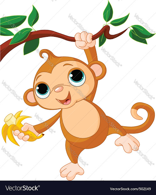 Baby Monkey On Tree Vector