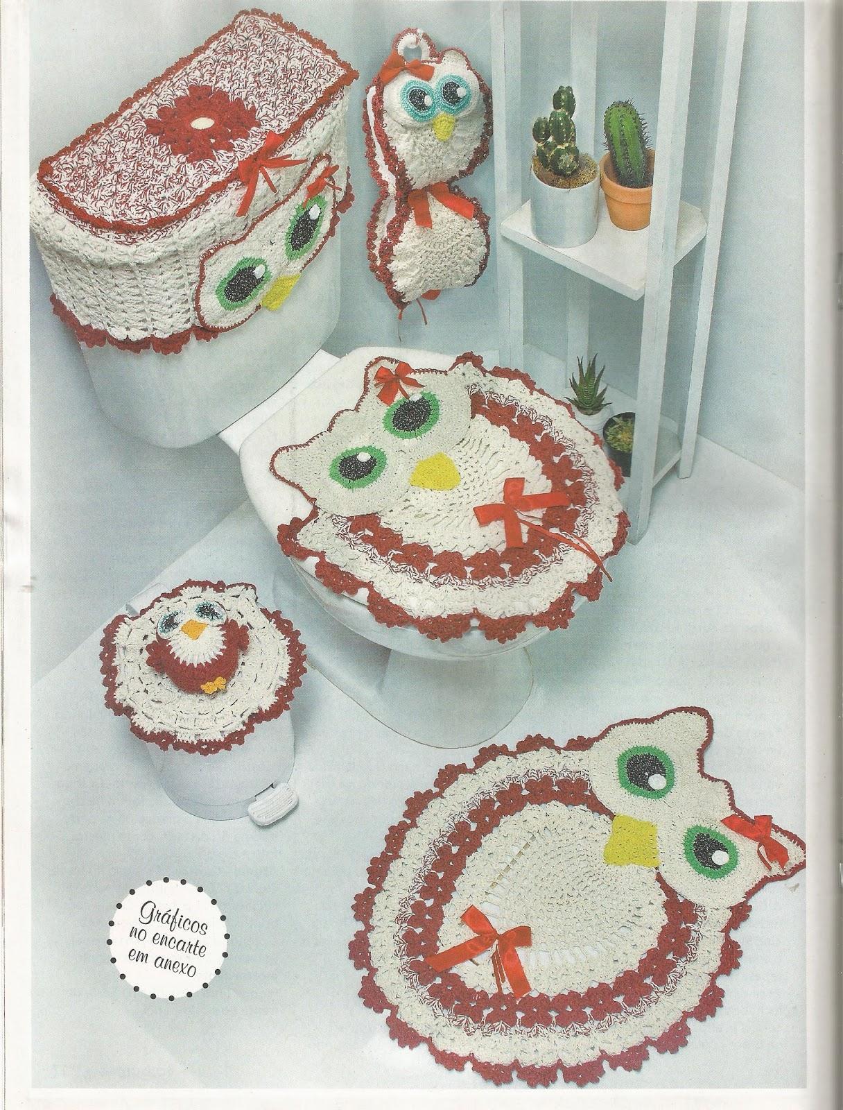 Jogo De Banheiro Completo : Mania de tricotar jogo banheiro coruja passo ?