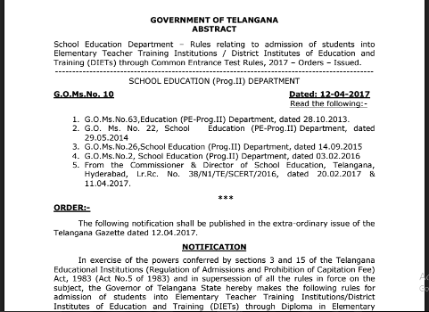 School Education Department –GO Ms No 10 Dated 12-04-2017-Rules relating to admission of students into Elementary Teacher Training Institutions / District Institutes of Education and Training (DIETs) through Common Entrance Test Rules, 2017 – Orders – Issued/2017/04/ts-go-ms-no-10-dated-12-04-2017-rules-and-regulations-related-admissions-DIETS-Elementary-teacher-training-institutions-orders-issued.html