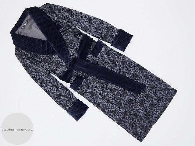 Men's custom made navy blue paisley dressing gown in silk and velvet with quilted collar and extra long length