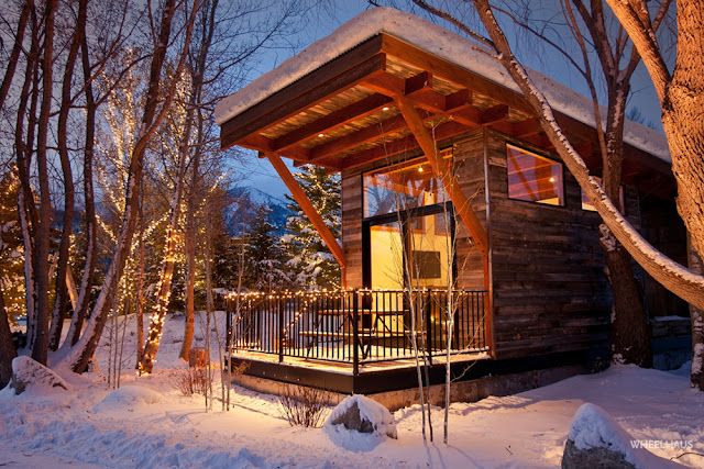 the Wedge tiny house, designed by Wheelhaus and available at Wildwood Lakefront Resort