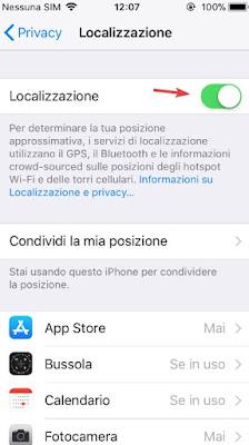 Localizzazione iPhone menu