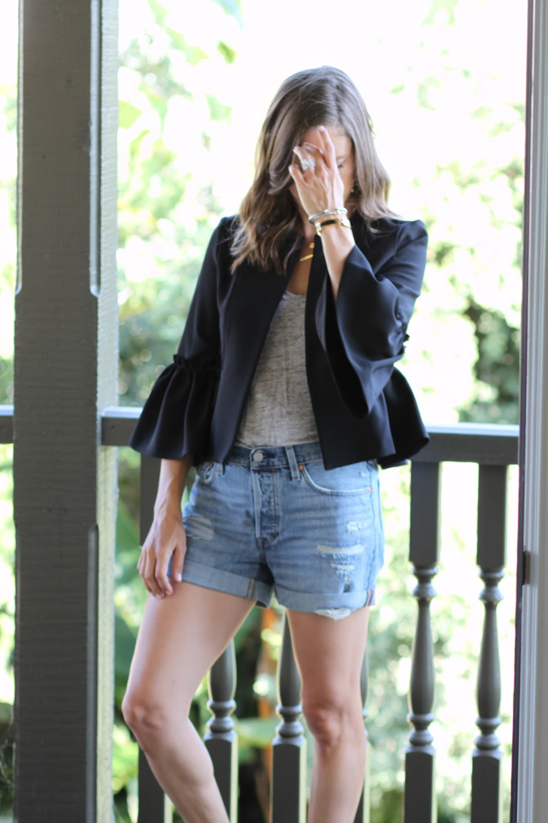 ruffle frill cropped jacket outfit