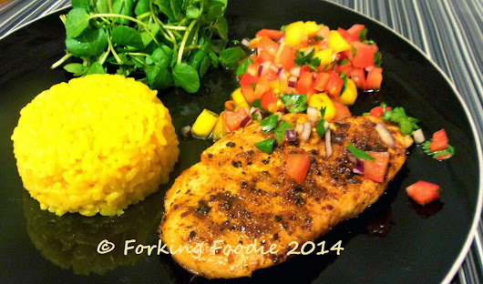Cajun-spiced Chicken with Mango Salsa and Baby Leaves