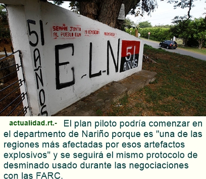 ELN y gobierno colombiano acuerdan plan de desminado en primer ciclo de diálogos.