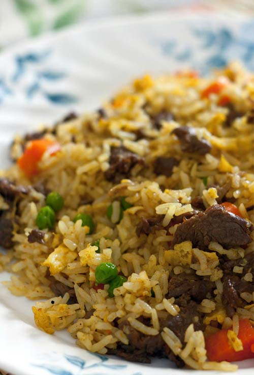 Simple Beef Fried Rice. Be sure to use day old or cold rice for best result. #friedrice