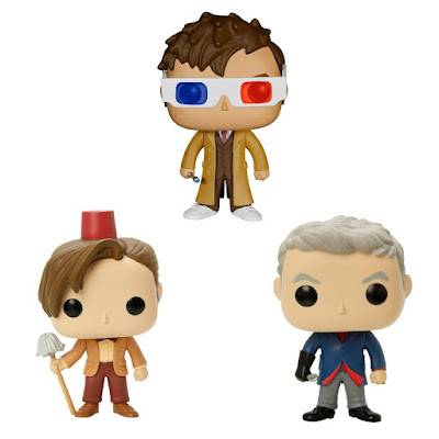 "Hot Topic Exclusive Doctor Who Pop! Vinyl Figure Series by Funko - ""3D Glasses"" Tenth Doctor, ""Fez"" Eleventh Doctor & ""Spoon"" Twelfth Doctor"