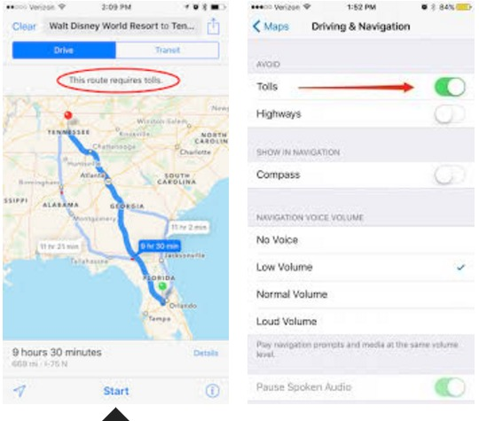 Setting Up Your Apple Maps To Dodge Tolls and Highways