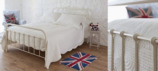 white bedroom metal bedframe