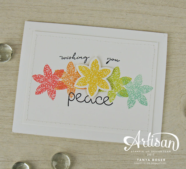 A rainbow of flowers for a sympathy card with Christmas Quilt, Happy Wishes, and Heartfelt Sympathy from Stampin' Up! Sale-A-Bration is almost here, and Happy Wishes is one of the free sets you can earn! ~Tanya Boser for the Stamp Review Crew