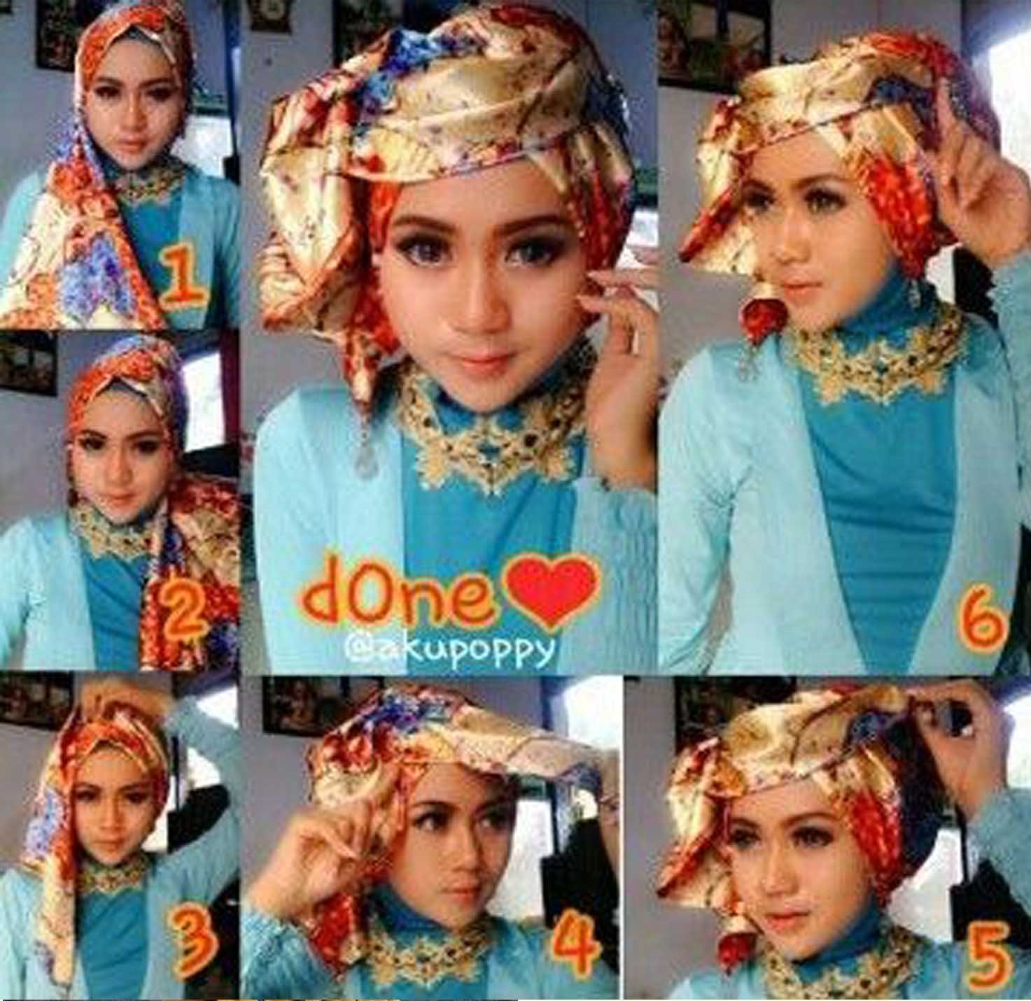 Tutorial Hijab Pesta Segi Empat 2 Warna Tutorial Hijab Paling