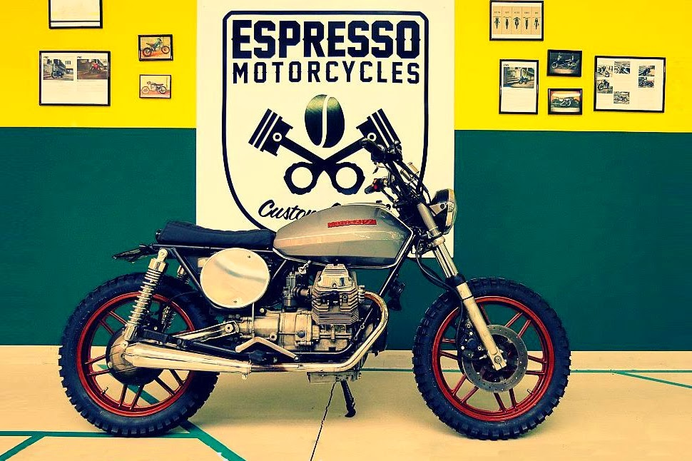 espresso #17 motoguzzi v35 scrambler - rocketgarage - cafe racer