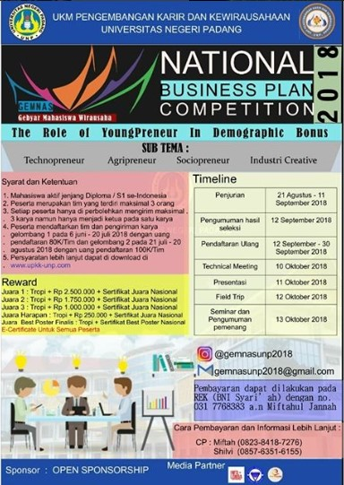 Lomba Business Plan National Competition UNP 2018