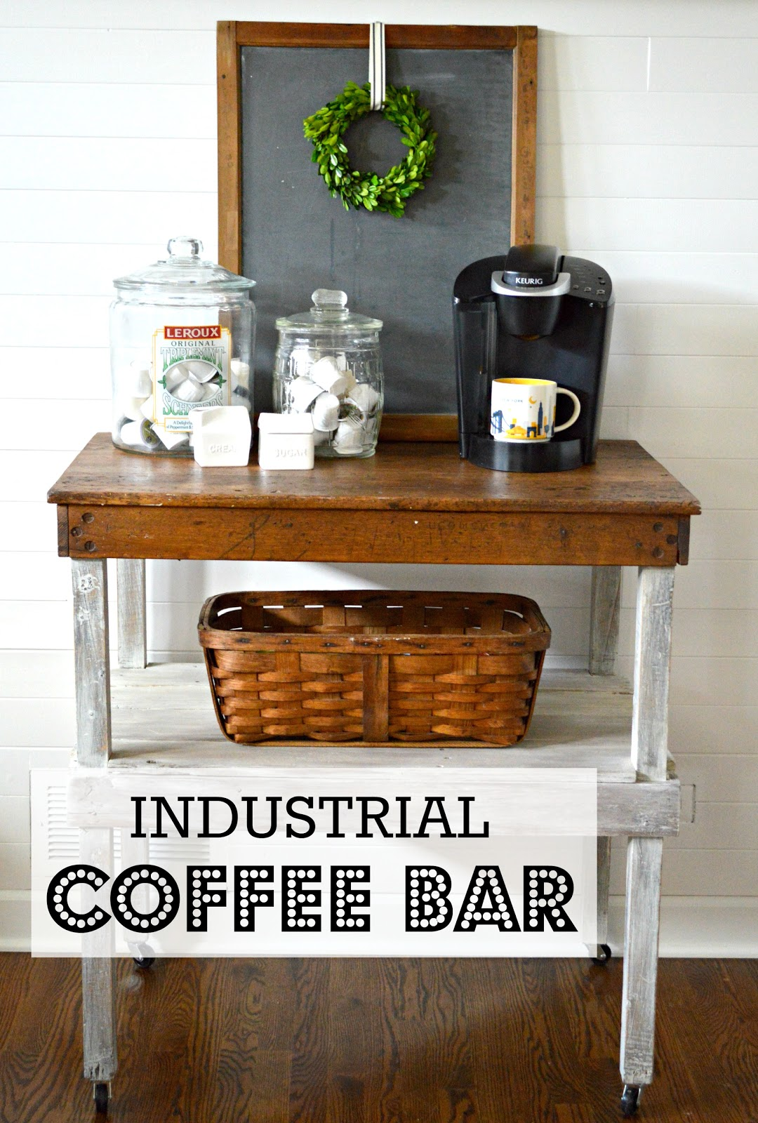 Super My Passion For Decor: Industrial Work Bench Turned Coffee Bar EF59