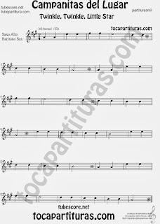 Partitura de Campanitas del Lugar para Saxofón Alto y Sax Barítono Villancico Christmas Carol Song Twinkle twinkle little Sheet Music for Alto and Baritone Saxophone Music Scores