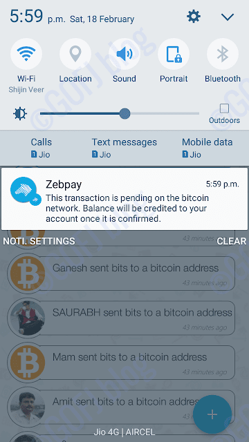 Zebpay bitcoin received notification
