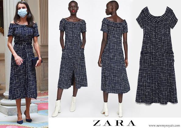 Queen Letizia wore Zara tweed dress with gem buttons
