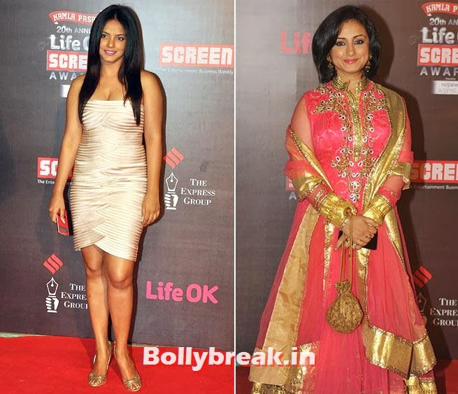 Neetu Chandra and Divya Dutta, Life Ok Screen Awards 2014 Red Carpet Photos