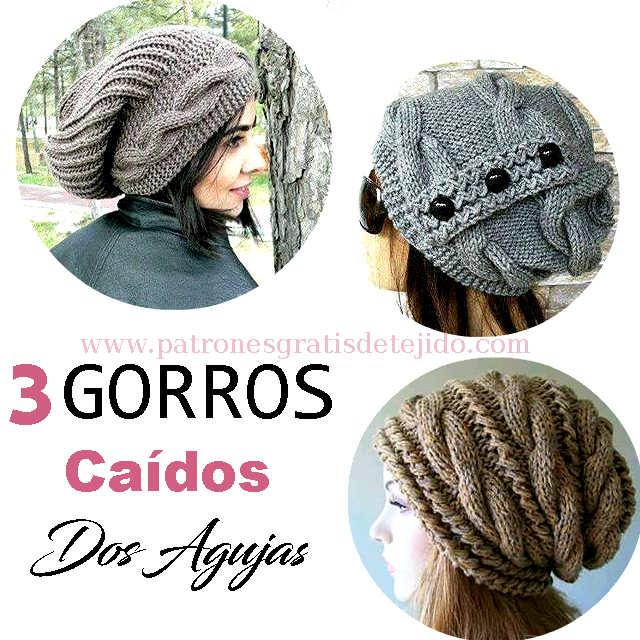 3 Gorros Caidos a Dos Agujas (Slouchy) / 3 Tutoriales | Crochet y ...