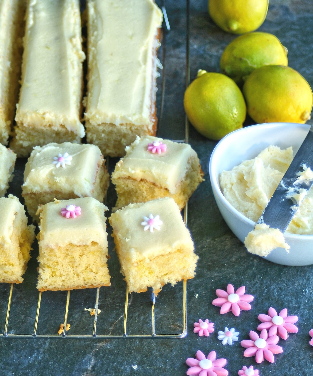 Light lemon cake squares.