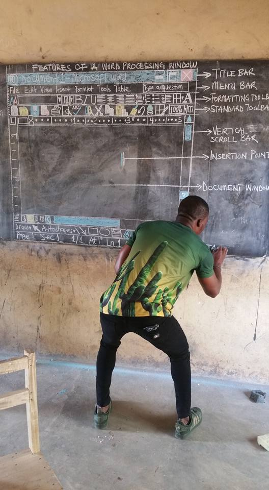 The viral post of Owura teaching computers without a computer changed his students lives.