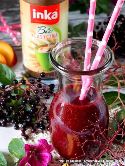 sniadanie, koktajl owocowy z inka, kawa inka, czarny bez, owoce, samo zdrowie, witaminy, rosliny lecznicze,