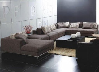 TOSH Furniture Modern Brown Fabric Sectional Sofa