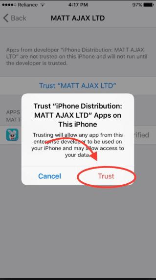 اعطاء الثقة لتطبيق على الآيفون