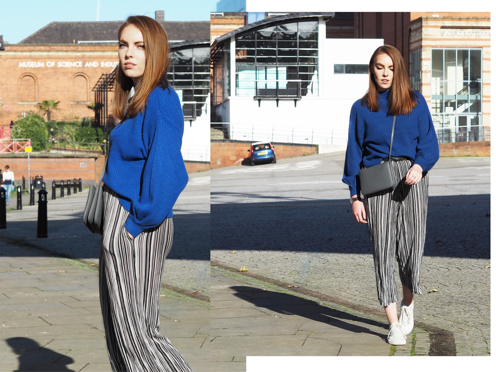 cobalt blue knit and striped culottes