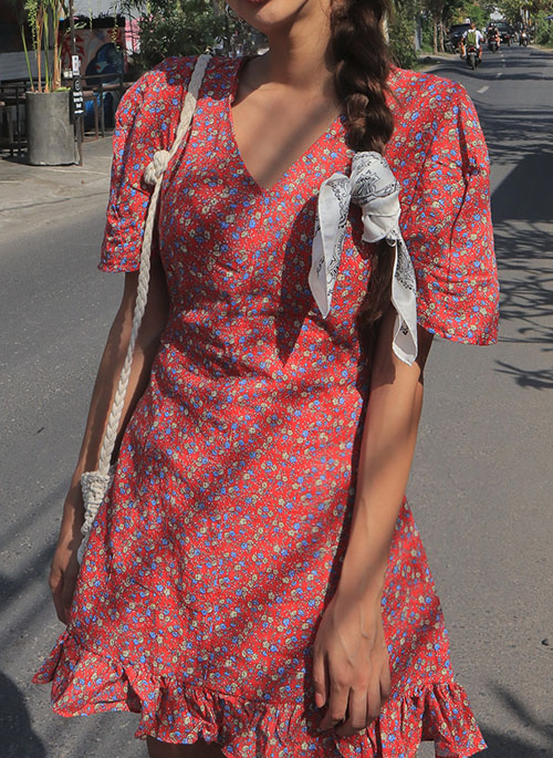 Frilled Hem Floral Flared Dress