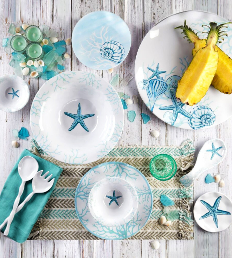 Outdoor Melamine Dinnerware Coastal Nautical Theme