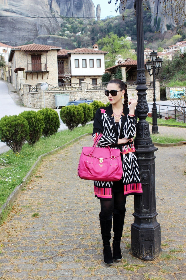 Graphic printed long cardigan outfit