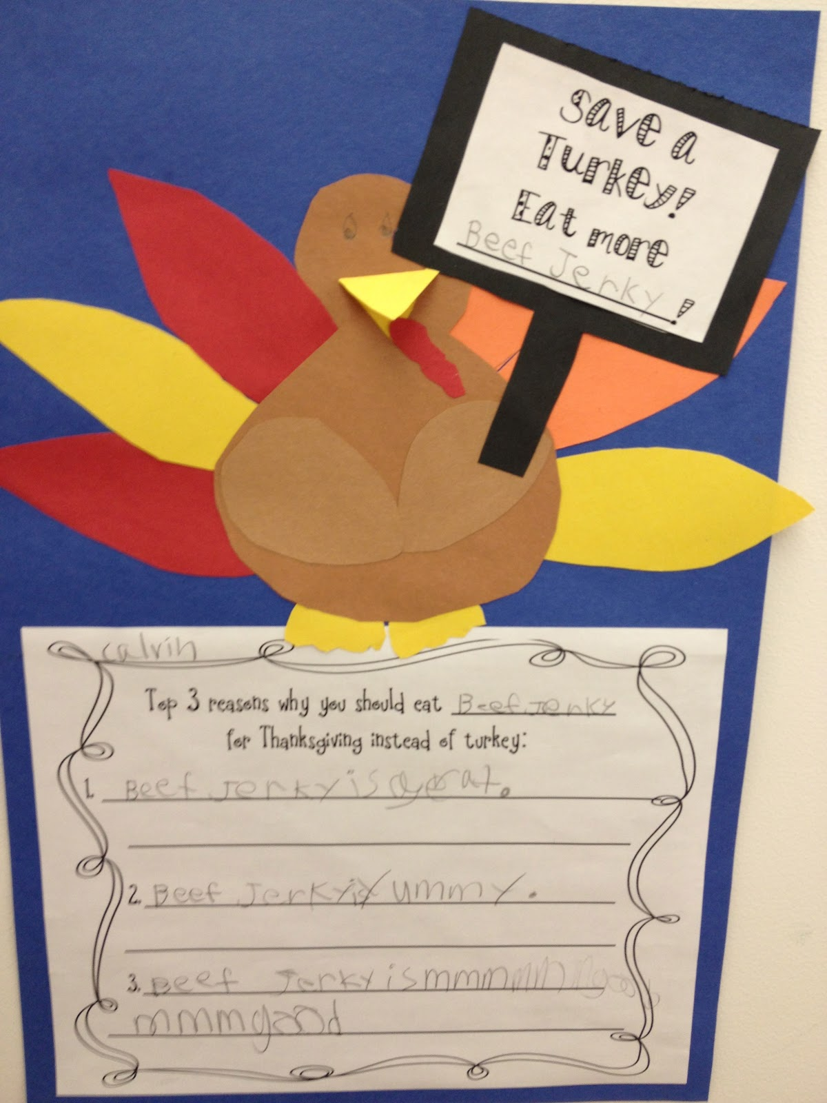 A turkey for thanksgiving writing activity