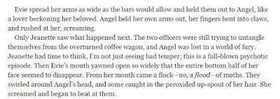 Only Jeanette saw what happened next. The two officers were still trying to untangle themselves from the overturned coffee wagon, and Angel was lost in a world of fury. Jeanette had time to think, I'm not just seeing bad temper; this is a full-blown psychotic episode. Then Evie's mouth yawned open so widely that the entire bottom half of her face seemed to disappear. From her mouth came a flock—no, a flood—of moths.