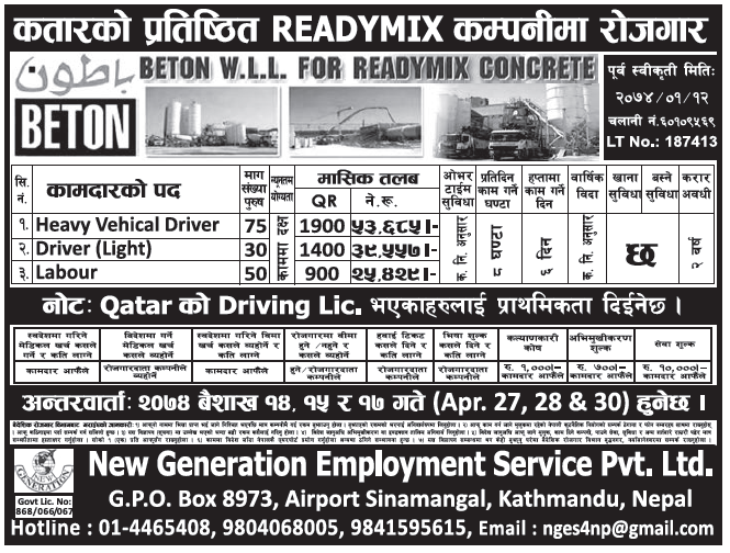 Jobs in Qatar for Nepali, Salary Rs 53,685
