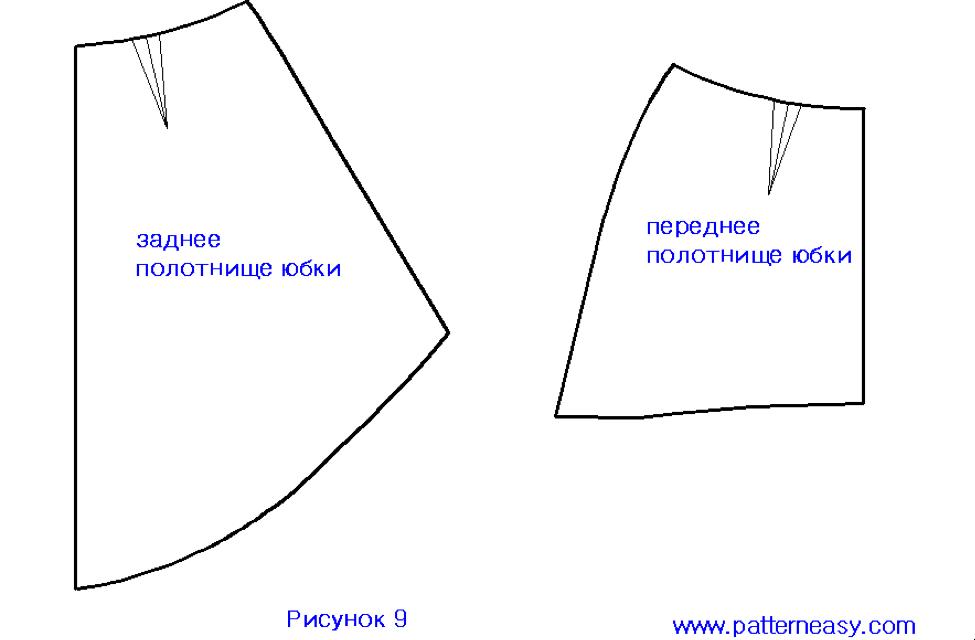 piezas patrón de falda asimétrica