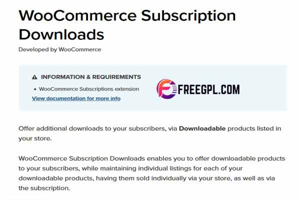 WooCommerce Subscription Downloads WordPress Plugin Free Download