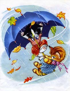 kissat, sateenvarjo, kissasatu