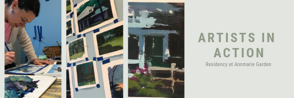 This is a collage of photos of Barb Mowery participating in the Artists in Action program at Annmarie Garden in Maryland in 2019.