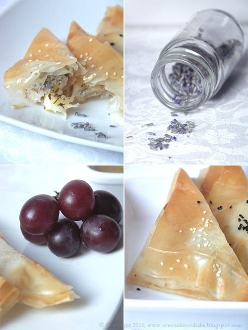 greckie rożki z ciasta filo z serem halloumi, miodem i lawendą